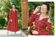 Red POONAM BIBA RAYON SUMMER COLLECTION Kurti