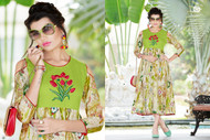 Green POONAM BIBA RAYON SUMMER COLLECTION Kurti