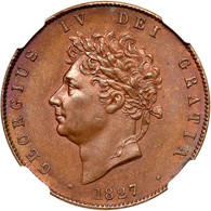 Great Britain 1827 Halfpenny NGC MS64 Brown. WINGS Approved.