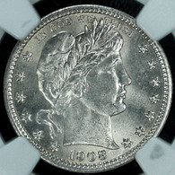 1908-D Barber Quarter NGC MS65