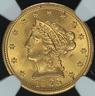 1905 $2.50 Gold Liberty NGC MS66+