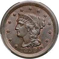 1850 Braided Hair Large Cent, PCGS MS65BN