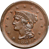 1851 Braided Hair Large Cent PCGS MS65 BN CAC Approved
