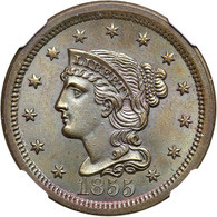 1855 Braided Hair Large Cent Upright 5's NGC MS66 BN