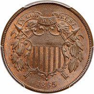 1865 Two Cent, PCGS MS65 Red Brown. CAC Approved