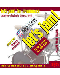 Let's Jam! CD Drummers Practice Backing Tracks Drum Watch and Learn