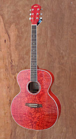 New Red Solid Curly Maple Top Kapok Jumbo Steel String Acoustic Guitar