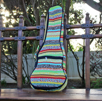 Concert Ukulele Gig Bag Padded Soft Case Yellow Multicolor Stripe