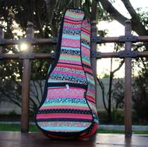 Concert Ukulele Gig Bag Padded Soft Case Pink Multicolor Stripe