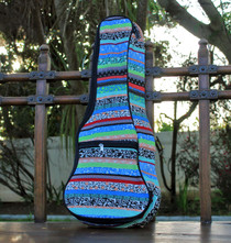 Concert Ukulele Gig Bag Padded Soft Case Blue Multicolor Stripe