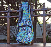 Soprano Ukulele Gig Bag Padded Soft Case Blue Paisley Pattern