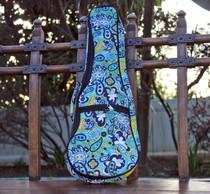 Soprano Ukulele Gig Bag Padded Soft Case Blue Paisley Pattern