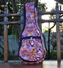 Soprano Ukulele Gig Bag Padded Soft Case Pink Paisley Pattern