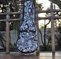 Soprano Ukulele Gig Bag Padded Soft Case White Paisley Pattern