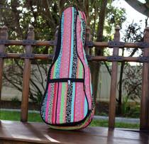 Tenor Ukulele Gig Bag Padded Soft Case Multicolor Pink Multicolor Stripe