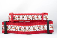 "Dancing Reindeer Dog Collar 1"" or 1.5"" wide"