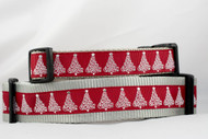 "Scarlet Christmas Tree Dog Collar 1"" or 1.5"" wide"