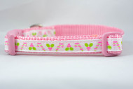 "Pink Candy Cane and Holly 1/2, 5/8, or 3/4"" wide"