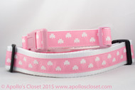 "Pink Shamrock 1 or 1.5"" wide Dog Collar"