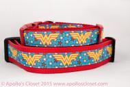 "Wonder Woman 1"" or 1.5"" dog collar"