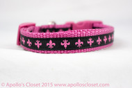 "Pink Fleur 5/8"" or 3/4"" wide Dog Collar"