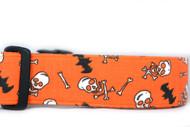"1.5"" wide skulls and Bats Halloween Collar"