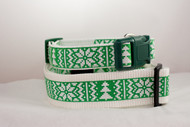 Green Christmas Sweater Dog Collar
