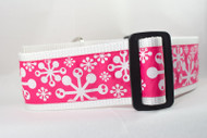 Pink Snowflake dog collar