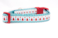 "Blue Christmas Tree Dog Collar 5/8 , 3/4"" wide"