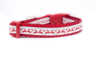 "Red Reindeer Dog Collar 1/2, 5/8 , 3/4"" wide"