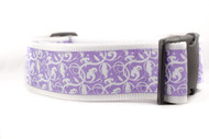 "Purple Floral 2"" wide Dog Collar"