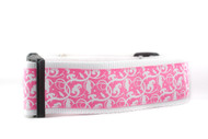 "Hot Pink Floral 2"" wide Dog Collar"