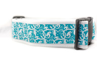 "Teal Floral 2"" wide Dog Collar"