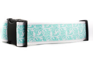 "Aqua Floral 2"" wide Dog Collar"