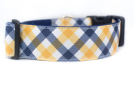 "Yellow and Navy Plaid 1.5 or 2"" wide Dog Collar"