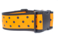 "Orange with Black Spot 2"" wide Dog Collar"