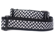 Race car dog collar with black and white checkered flag print.