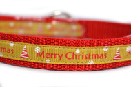 "Gold Merry Christmas 1/2, 5/8, or 3/4"" wide"