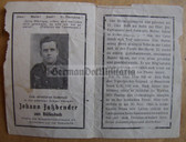 opc368 - Wehrmacht Obergefreiter Johann Fassbender - kia at Lake Ladoga/Leningrad in Russia in 1943 - Eastern Front Medal & KVK 2nd class - death card
