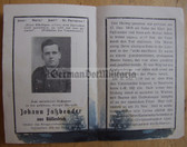 opc380 - Wehrmacht Obergefreiter Johann Fassbender - kia at Lake Ladoga/Leningrad in Russia in 1943 - Eastern Front Medal & KVK 2nd class - death card