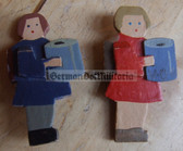 om666 - 2x VDA donation wooden figures - girls with collection tins