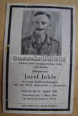 opc399 - Artillery Obergefreiter Josef Jehle - died in Austria in March 1945 - death card - several awards mentioned