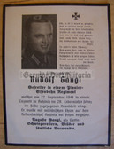 dc075 -  Gefreiter Rudolf Gangl - Railways Regiment - kia in Russia in September 1943 - death card