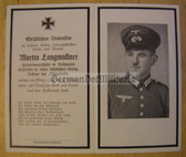 dc110 -  Gefreiter Martin Langwallner - Butchers Company - Eastern Front Medal - kia in Russia in March 1943 - death card