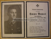 dc113 -  Feldwebel Hans Bauer - Customs Officer in civilian life - kia in Russia in March 1943 - death card