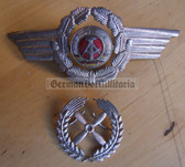 sbbs052 - c1960's NVA Air Force officer Visor Hat insignia set - two piece enamel cockade