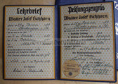 od005 - 1939 and 1943 professional qualification cert books for a bricklayer and a painter decorator