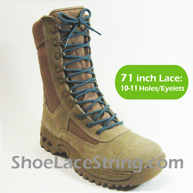 Gray &amp Light Blue 71IN Work/Combat Boots Round Laces 1PAIR - Shoe
