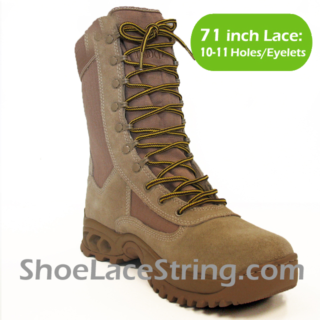 71 inch Yellow Brown round boots laces