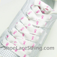 Pink Ribbon Logo Cancer Awareness Fat Wide Shoe Laces String 2PR